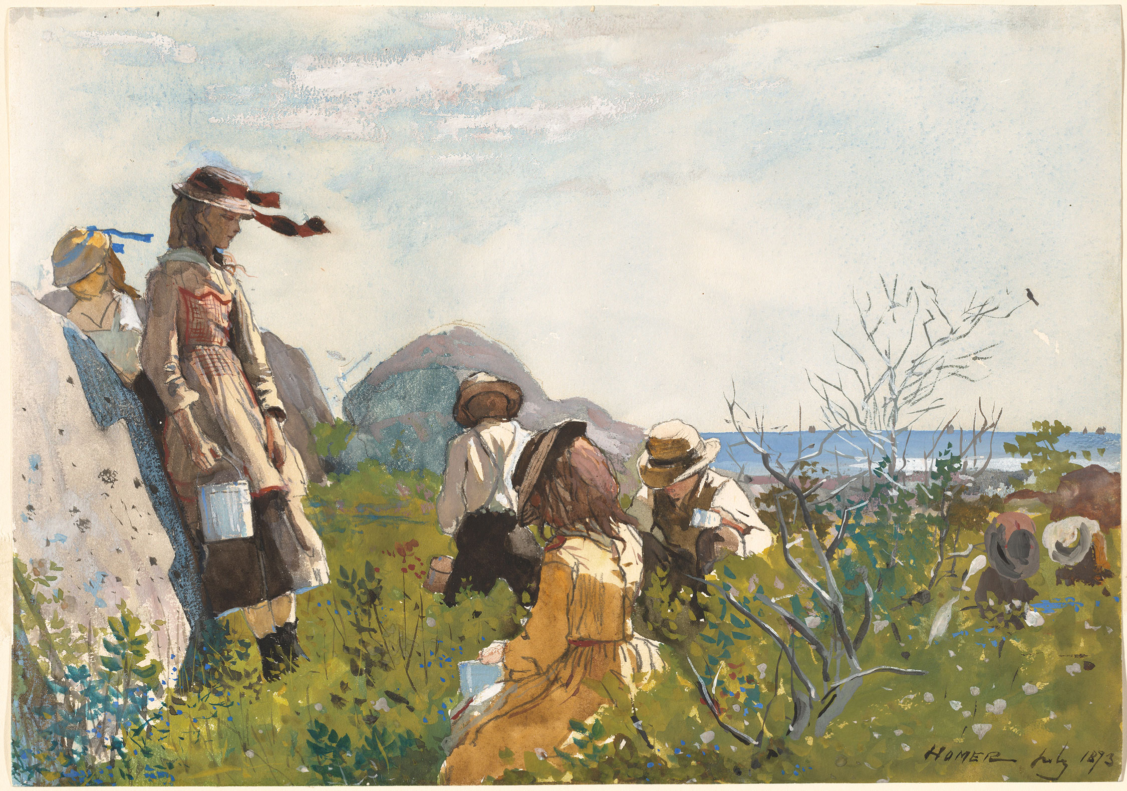 Winslow Homer Berry Pickers, 1873 watercolor and gouache over graphite on wove paper sheet: 24.45 × 34.93 cm (9 5/8 × 13 3/4 in.)
