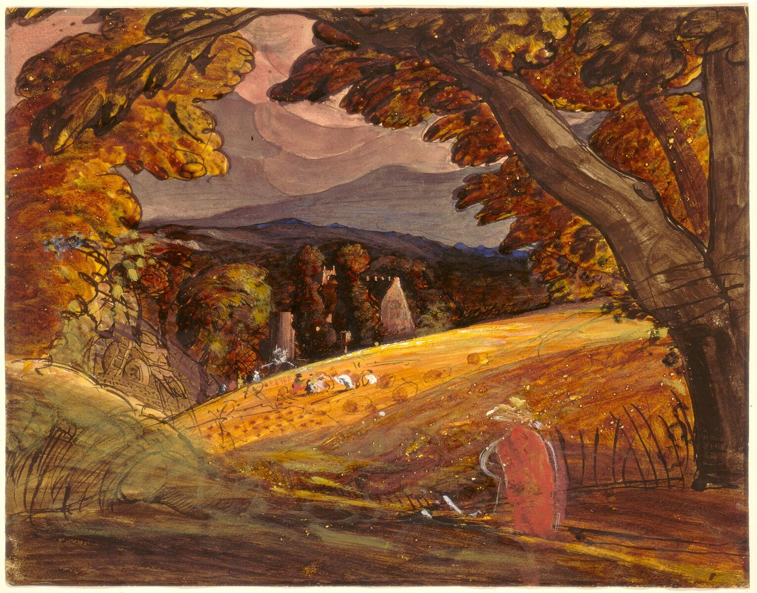 Samuel Palmer Harvesters by Firelight, 1830 pen and black ink with watercolor and gouache on wove paper overall: 28.7 x 36.7 cm (11 5/16 x 14 7/16 in.)  Cover photo:  Winslow Homer The Sick Chicken, 1874 watercolor, gouache, and graphite on wove paper overall: 24.7 x 19.7 cm (9 3/4 x 7 3/4 in