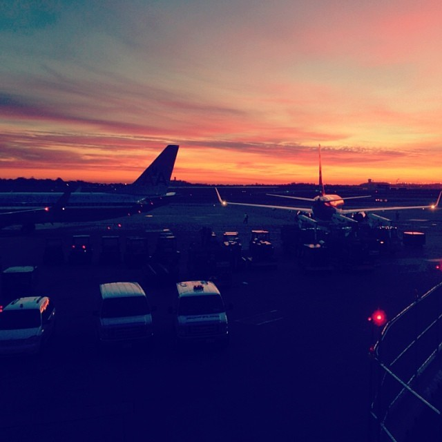 Requisite morning flight, sunrise shot. (at Boston Logan International Airport (BOS))