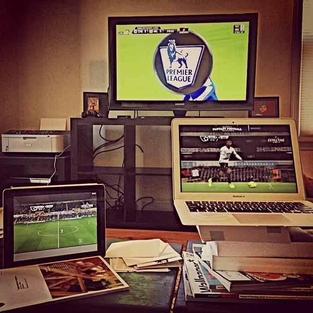 Three screens, three #EPL games at once.