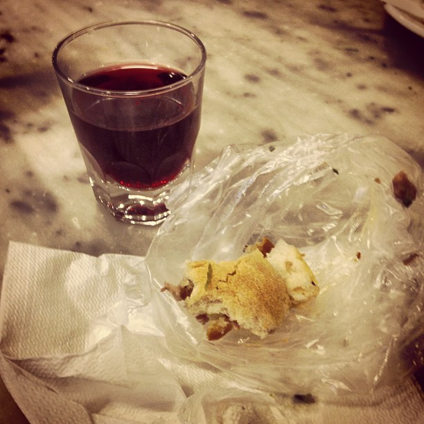 Breakfast of Panini Bollito and red wine. (at Nerbone)