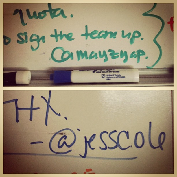 My team signs their notes to me using their Twitter handles.