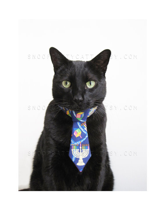 """ If your cat is Jewish but his yarmulke won't stay on, he can still get ready for the Festival of Lights with an adorable little tie of his very own! """