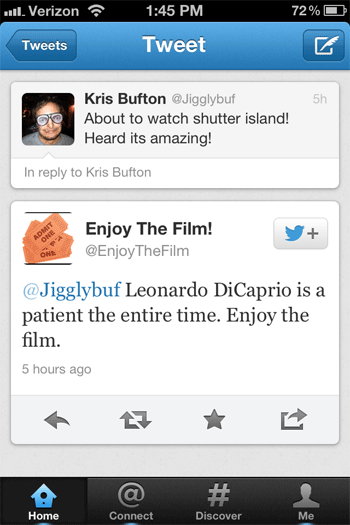This is why I love the Internet. @ enjoythefilm  exists purely to tweet spoilers at unsuspecting tv/movie lovers. Absolutely beautiful.   It's just so perfect behaviorally. Users tweet about their excitement for an upcoming movie, and when they see an @ reply, the simple instinct is to automatically read it. And by the time you've read it…spoiler. Too late.   Genius.
