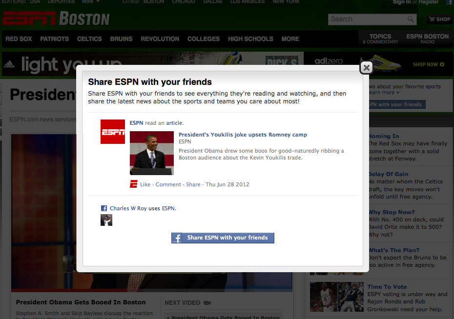 Interesting. I hit a link to ESPN from Google, and they prioritize the sharing of the article to Facebook, over my reading of the article. Share first and then read. Or just share.