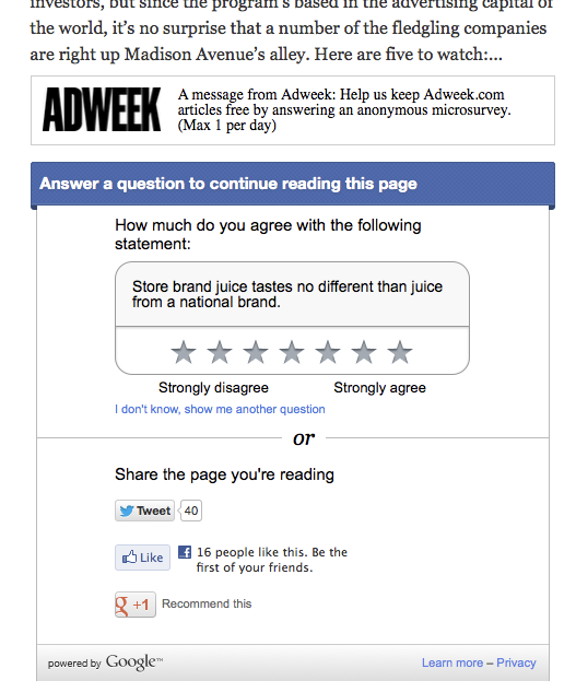 AdWeek should be ashamed at running such awful ad units as blockers to reading its content. Pathetic and ironic how uncreative an ad placement this is within an advertising trade publication.