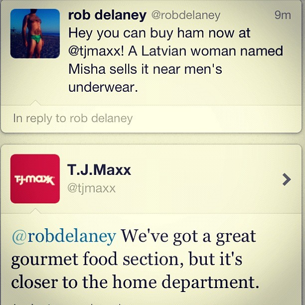 Perfect response from @tjmaxx  (Taken with  instagram )
