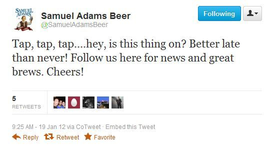 Samuel Adams is now on the Twitters .