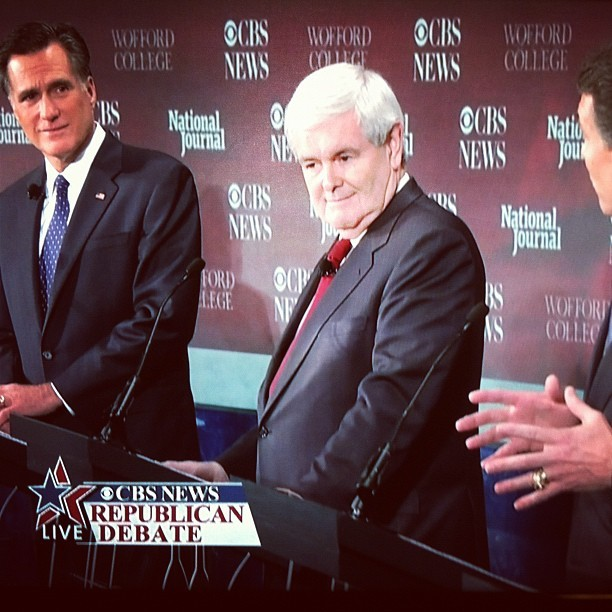 "Perry talks, and Mitt and Newt are all like ""Dude, seriously? Dude, seriously."" (Taken with  instagram )"