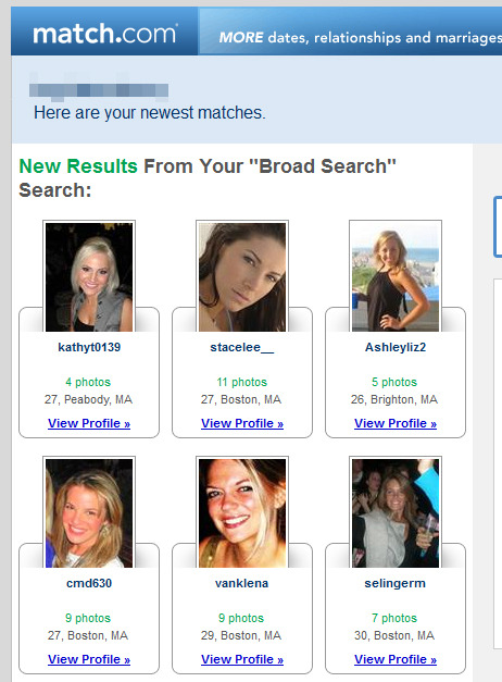 """Match.com may want to think about how they articulate results that come from a wider search range.   New Results From Your """"Broad Search"""" ,  looks a bit funny when it is displayed over a bunch of female photos."""