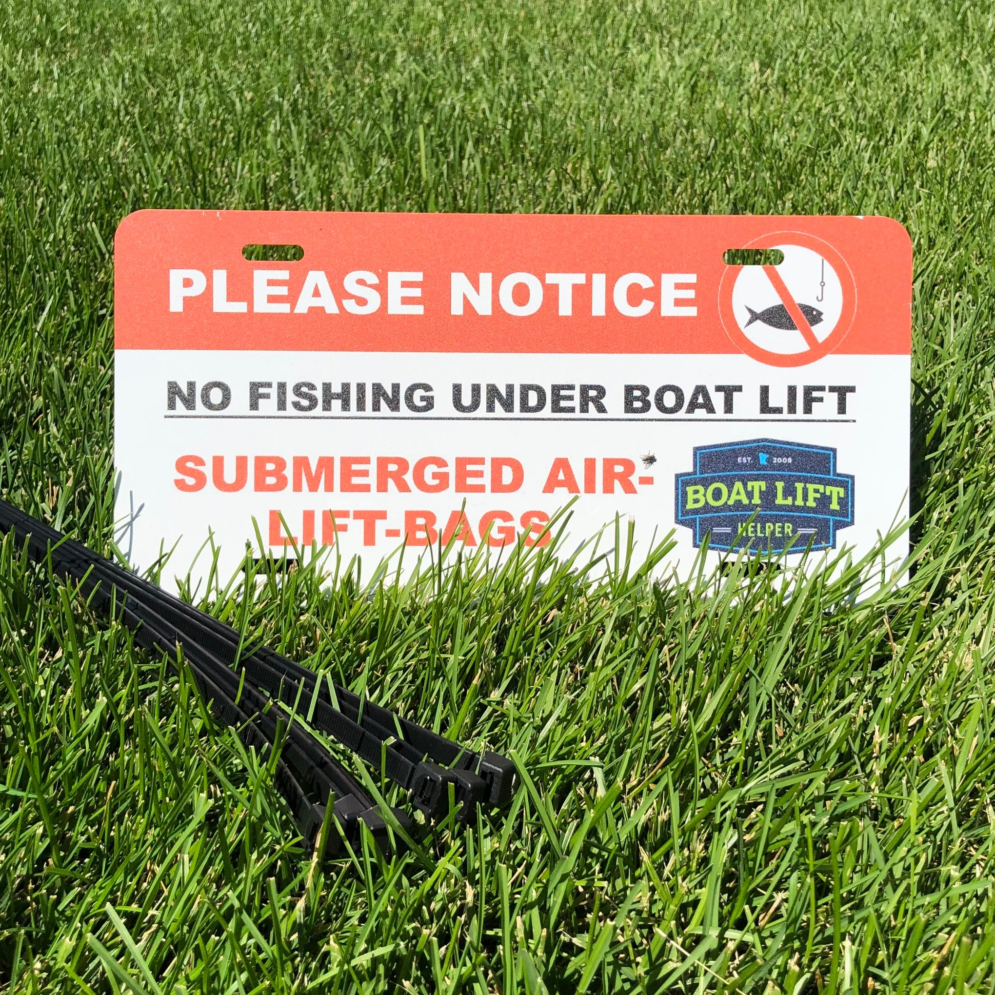 "No Fishing Banner $24.99   12""x6"" Aluminum sign, fasten to end of dock/lift"