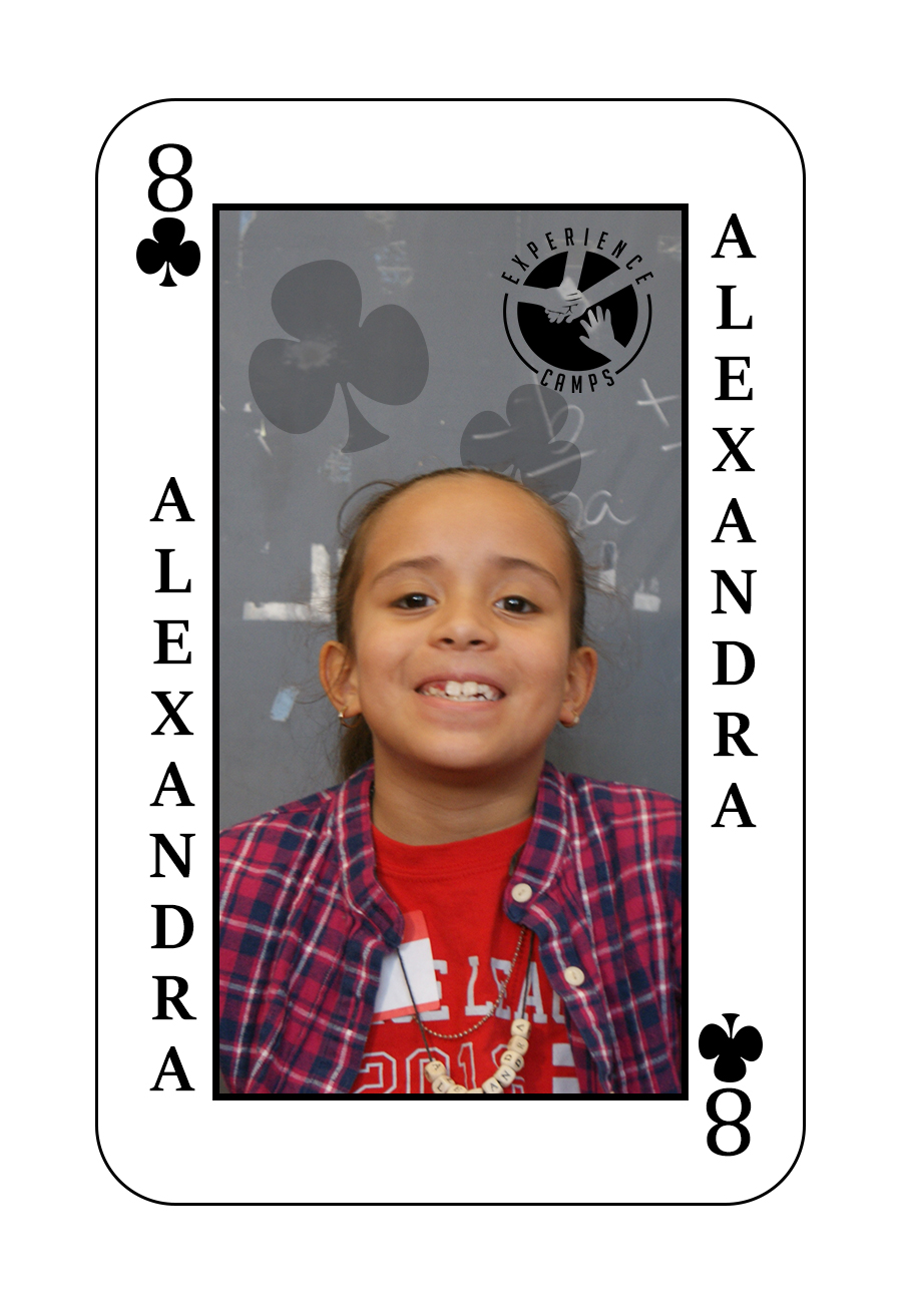 My name is Alexandra and my dad died from brain sickness when I was 3 years old. At camp, I really like when we get to light a candle for our person who died, and people get you because they all know someone who died too. This will be my 2nd year at camp and I can't wait to go back because it's FUN!