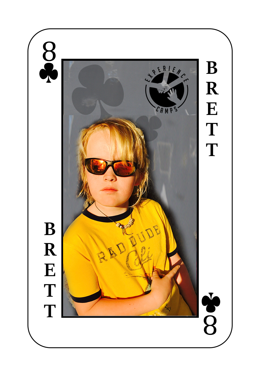 My name is Brett and my dad died of a heart attack when I was 5. Camp is a place where I can talk about my dad. What makes camp so special is that I meet new friends every year who have similar experiences as me. My favorite memory from camp last year was the island swim. That's when we take a boat to an island in the middle of the lake and you jump off the island and swim back to camp. Everyone on shore was cheering and supporting us. If I could describe camp in one word It would be FUN.