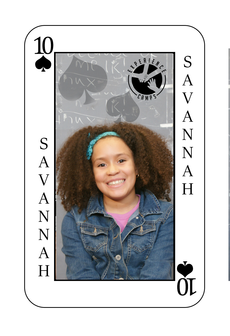 My name is Savannah and my dad died when I was only 4 years old from his brain being sick. Then my grandfather died last year too in a car accident. This will be my 2nd year at camp. Camp is so special because you actually get to know people who understand what you're going through and how it feels. My favorite moment at camp was the last night when we did the luau party. Camp is really FUN.