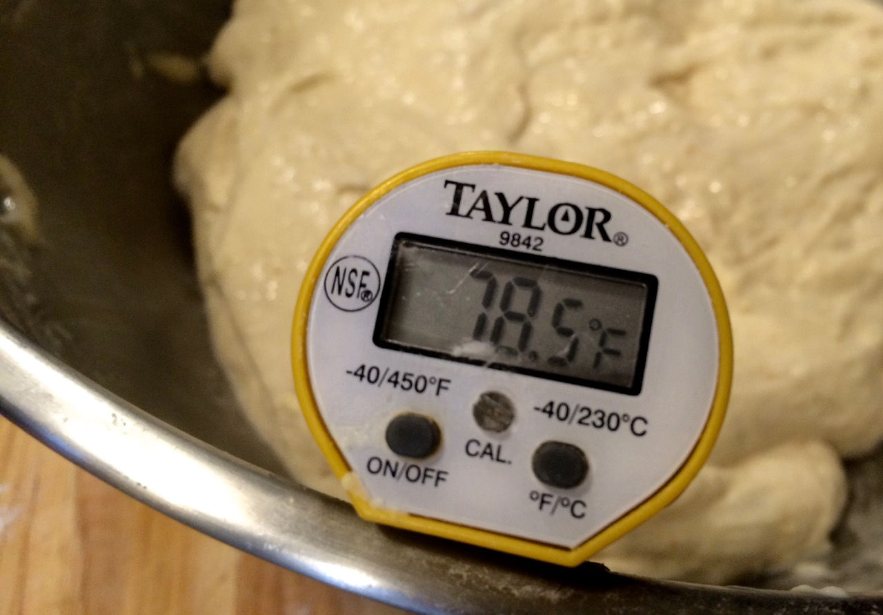 Dough temperature after hand mixing