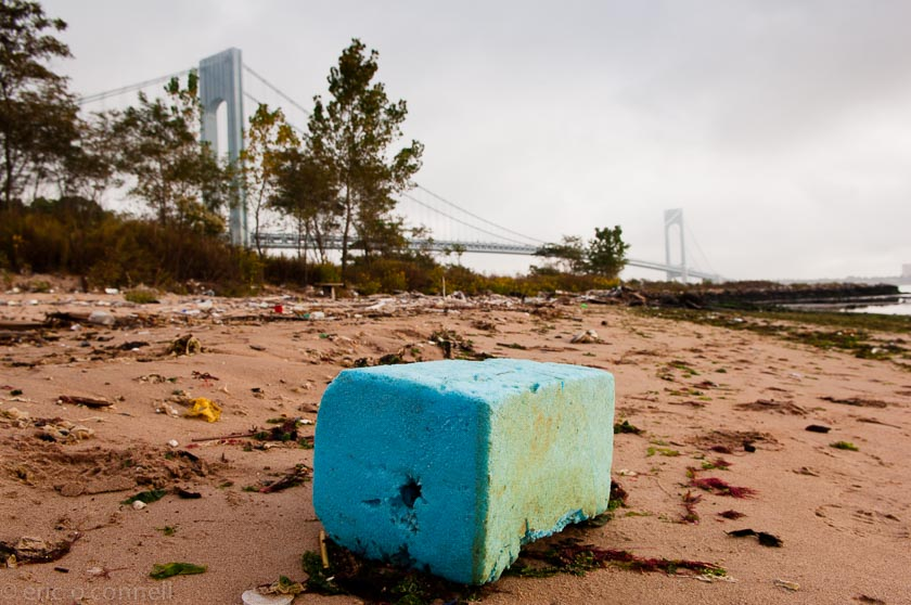 Foam Block, South Beach, Staten Island, and  Verrazano Bridge,  NY.