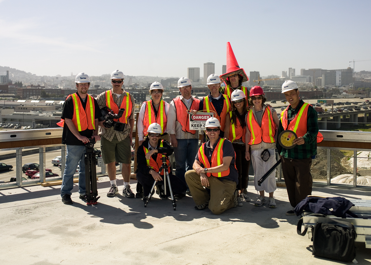 """Oracle Photoshoot Crew in San Francisco (I'm standing next to """"cone"""" head.)"""