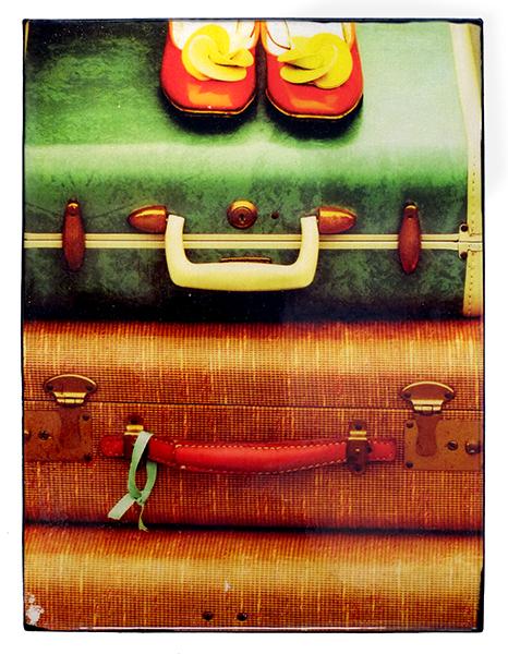 Bon Voyage 8 x 6 in. $135. Flea market-inspired original mixed media