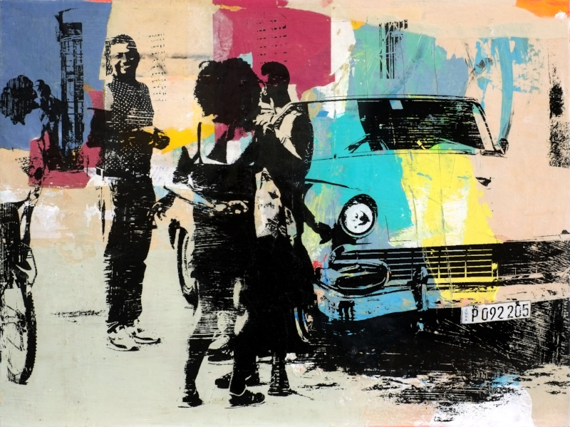 Street Life, 18 x 24 in., Mixed Media, $900