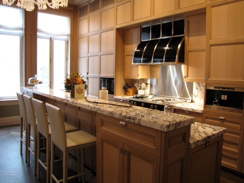 Cerused rift and quartersawn oak panel kitchen in NYC.