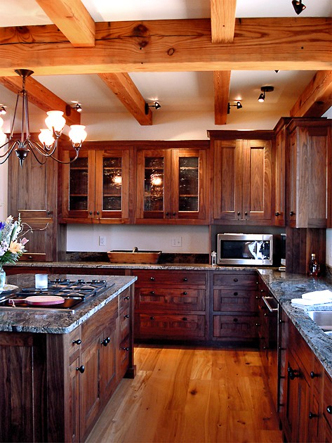 Walnut custom kitchen in Aurora, NY.