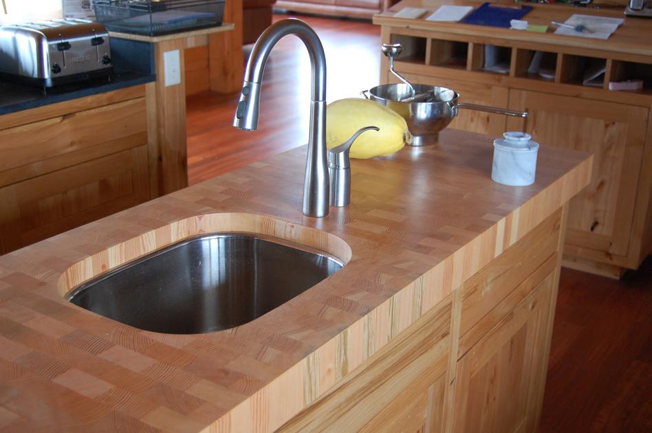 Custom chop block island countertop.