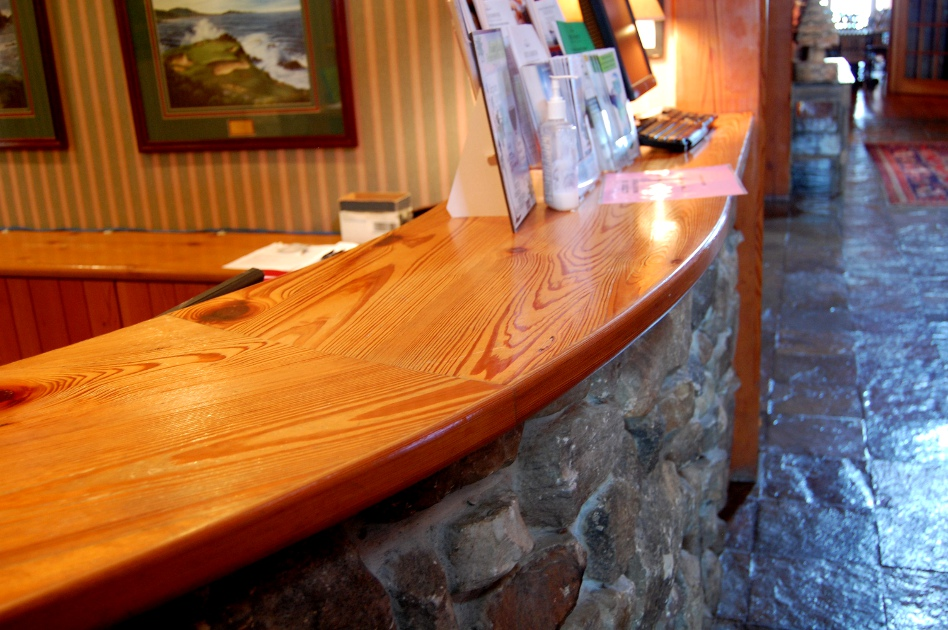 Heart pine reception desk counter top, half round/curved edge in Bristol Harbour Resort, Canandaigua NY.
