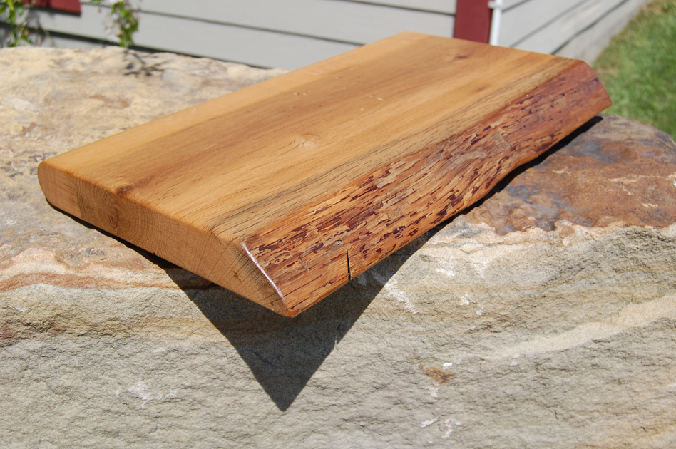 Sample of mixed hardwoods counter top with live edge.