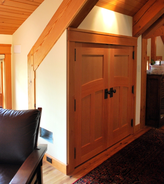 Faywood Farm has a few reclaimed douglas fir and walnut doors all hand crafted by our fine woodworking group. D35