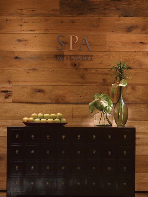 Detail of reclaimed oak paneling in a Chicago spa. F6