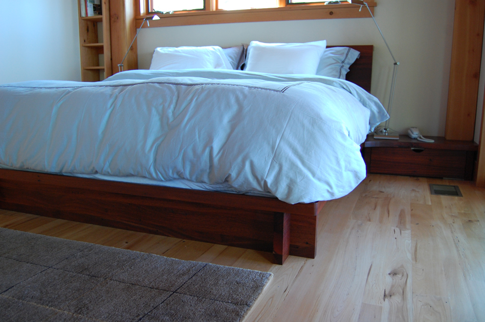 Reclaimed jarrah was used to create this platform bed and side table/drawers.