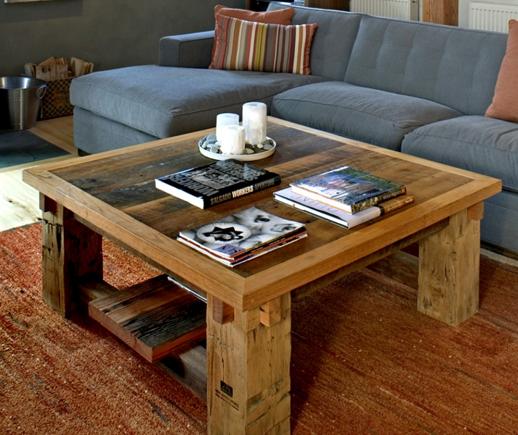 This square coffee table was crafted from reclaimed agricultural timbers and has found its home in Portland, OR.