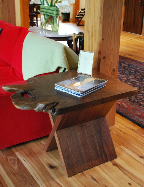 This custom walnut end table is one of three crafted for a home in Kentucky.