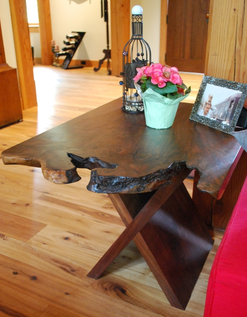 Live edges allow each of the three walnut end tables crafted for Faywood Farm in Kentucky to be unique, yet congruent.