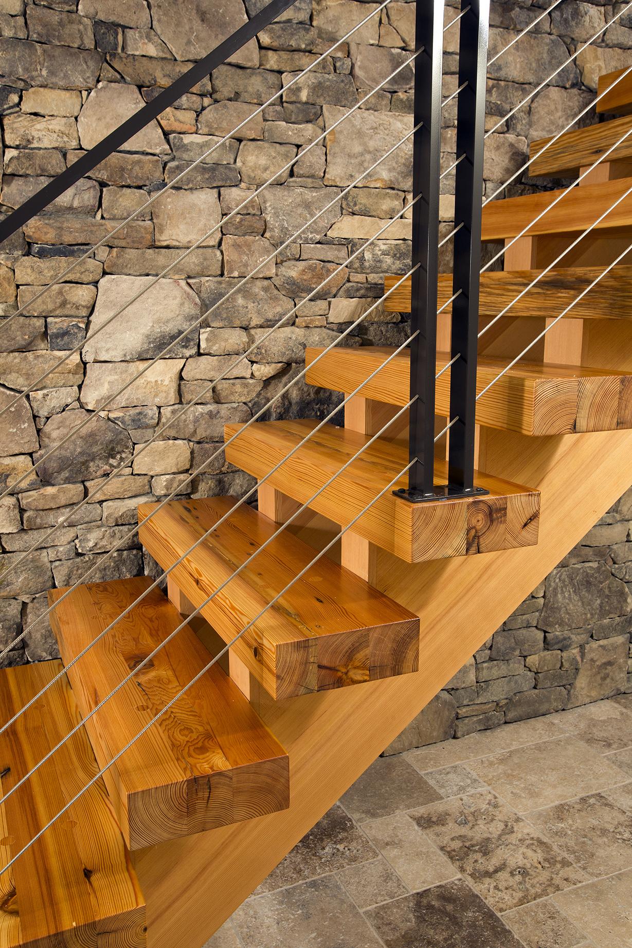 Heart pine stair treads. Photo © Greg Hadley Photography