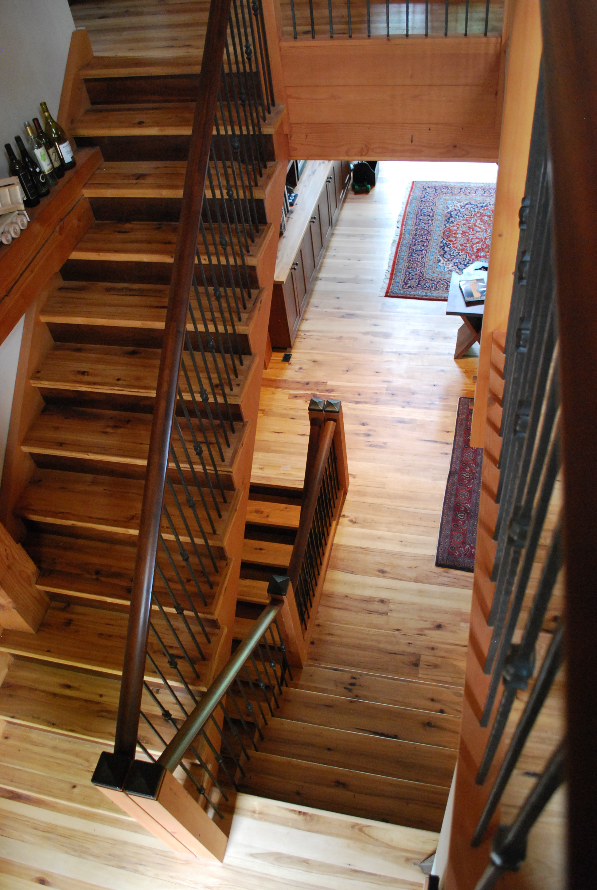 Reclaimed Hickory and Walnut stairs.