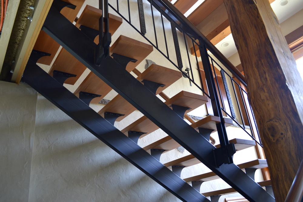 """Metal Stringers """"floating"""" stairs"""