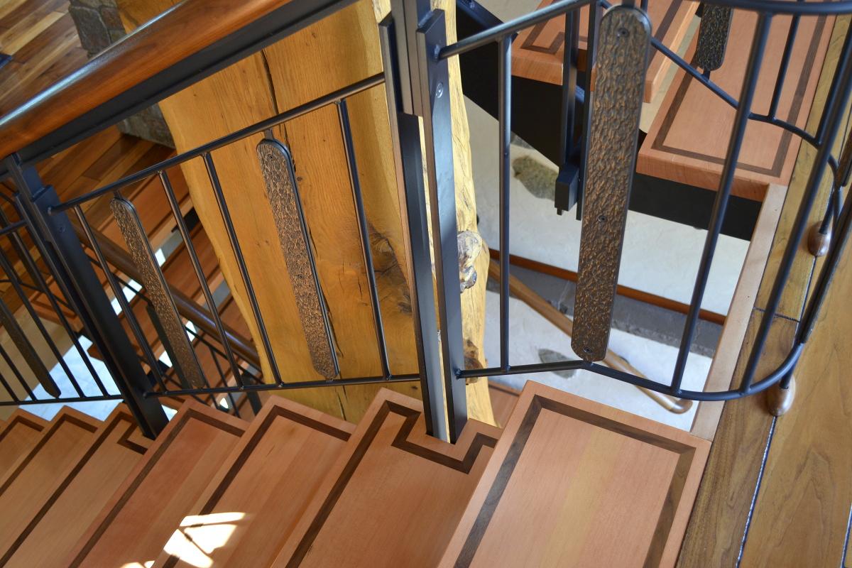 Custom stairs with Walnut inlay.