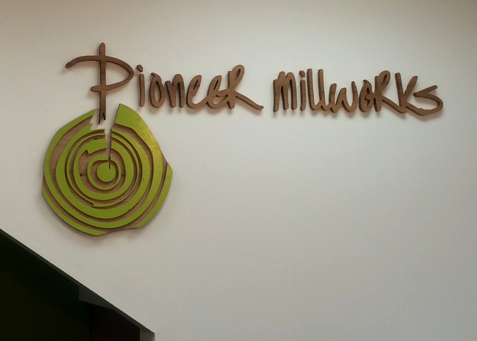 Individual letters were custom milled on the CNC to create a 3D logo for the Pioneer Millworks Portland, OR office.