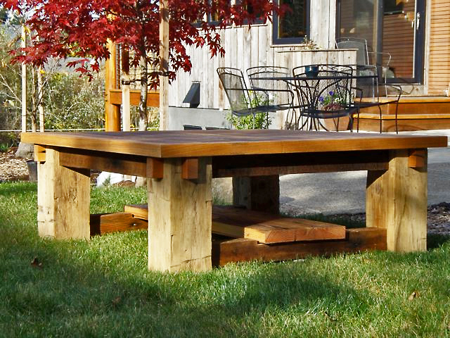 Reclaimed Mixed Wood Square Table - made to order, located in our West Coast show room.