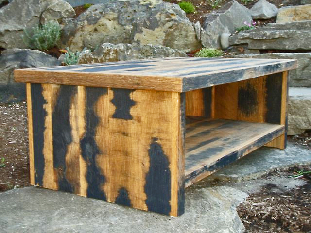 Black & Tan Reclaimed Oak Coffee Table - made to order, located in our West Coast show room.