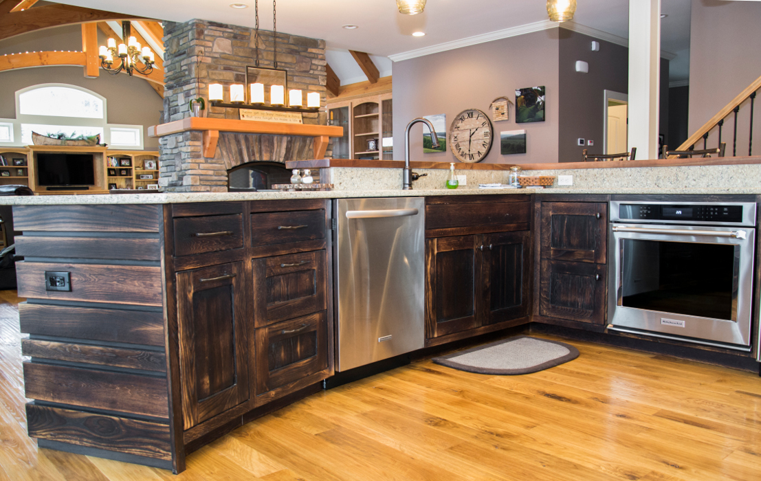 "Reclaimed ""toasted"" oak kitchen cabinetry."