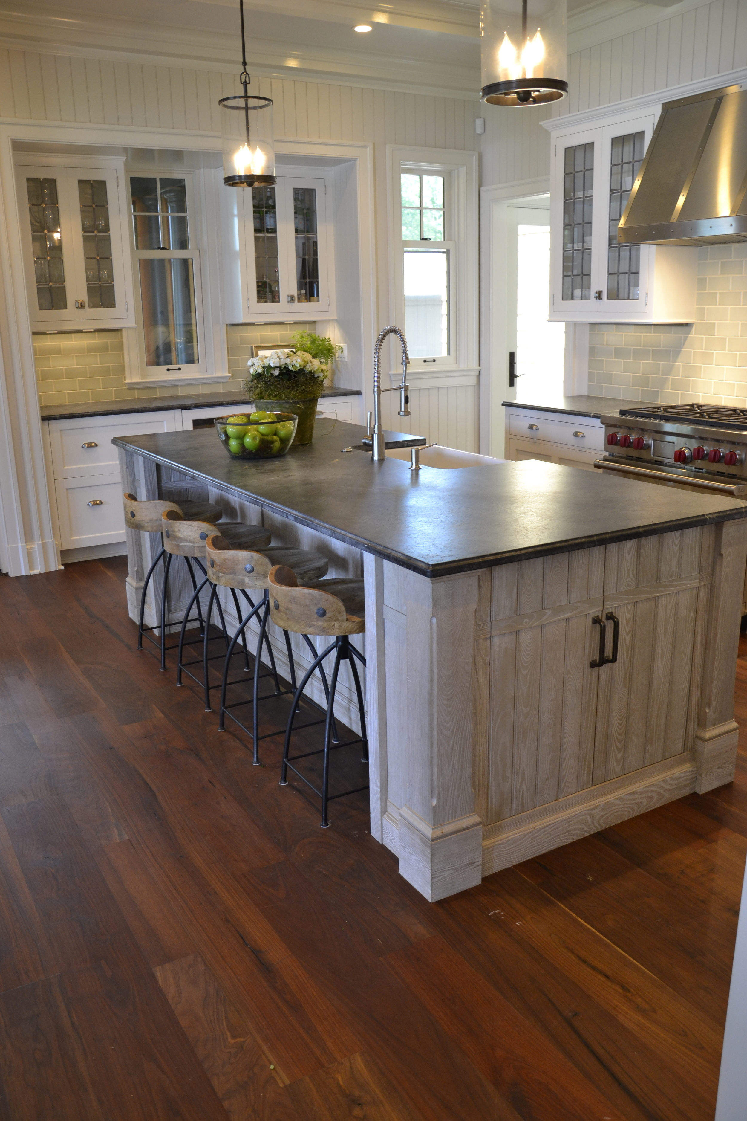 Kitchen island is reclaimed Ash with multi-step painted finish