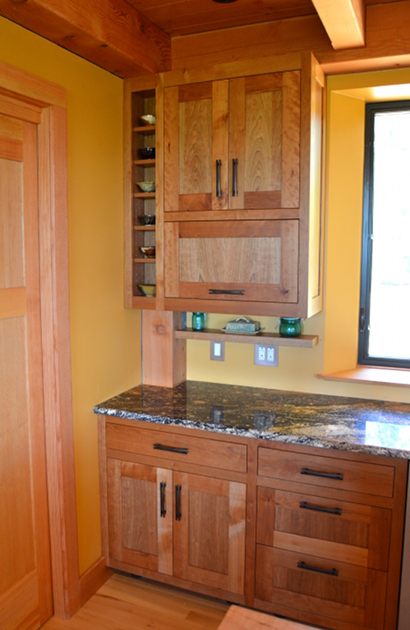 Rescued Cherry cabinetry.