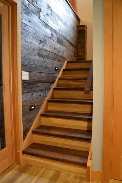 Walnut Stair Treads, Reclaimed Grey Elm Risers, Douglas Fir Stringers and Posts