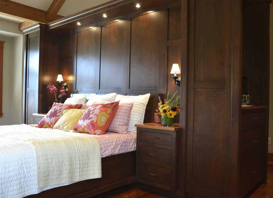 Stained Cherry Bed Frame, Headboard, and Cupboards