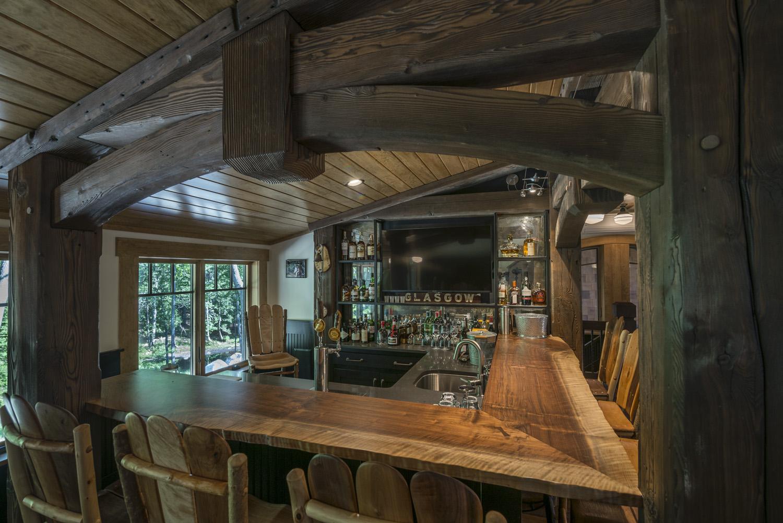 Custom crafted bar made of live edge Walnut
