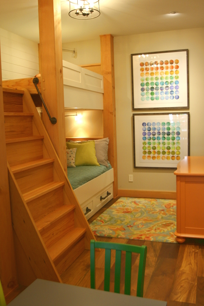 Custom finish Maple bunk beds, painted Pine tongue and groove with Douglas Fir timbers and stairs