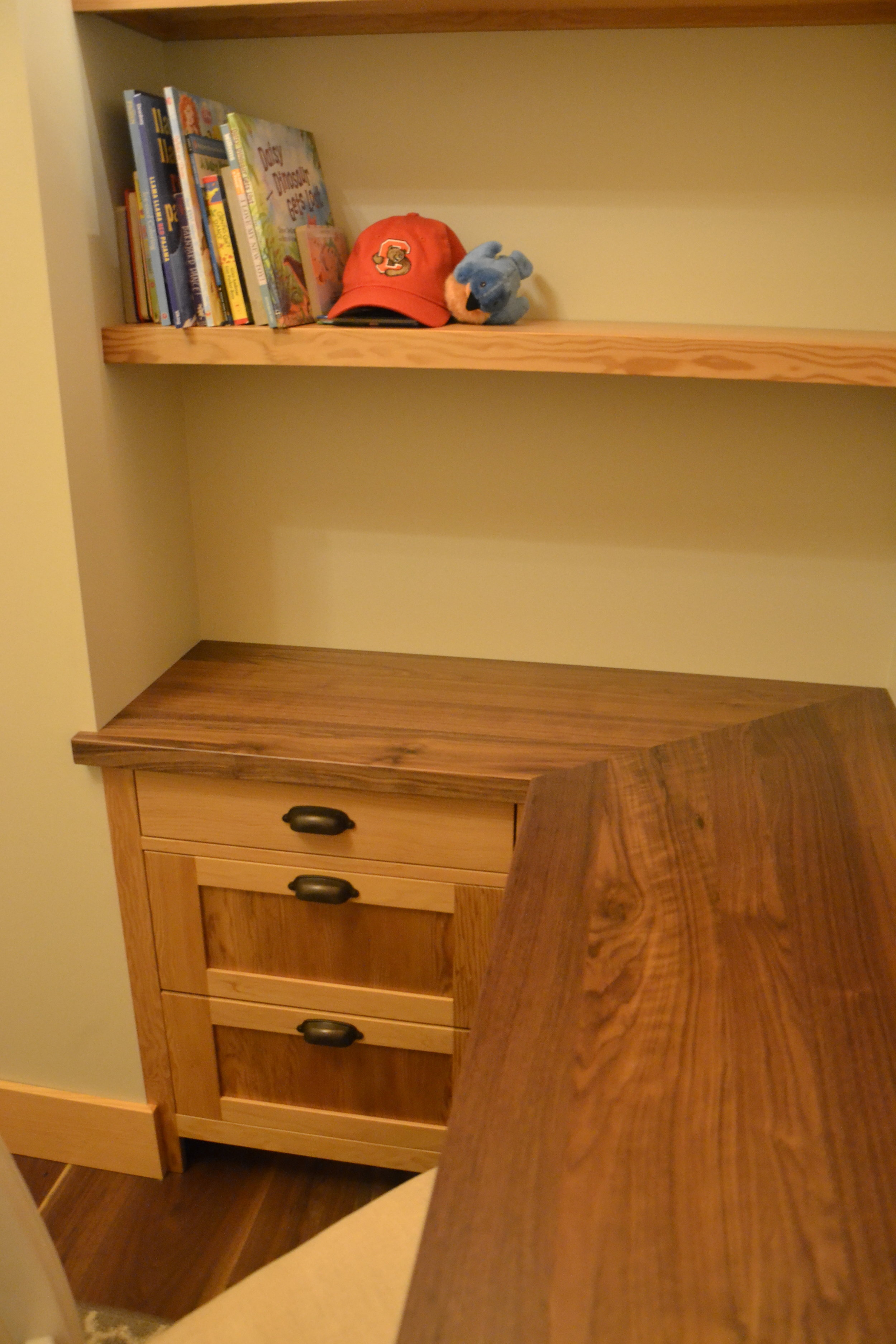 Built-in desk and shelves made of Douglas Fir with Walnut top