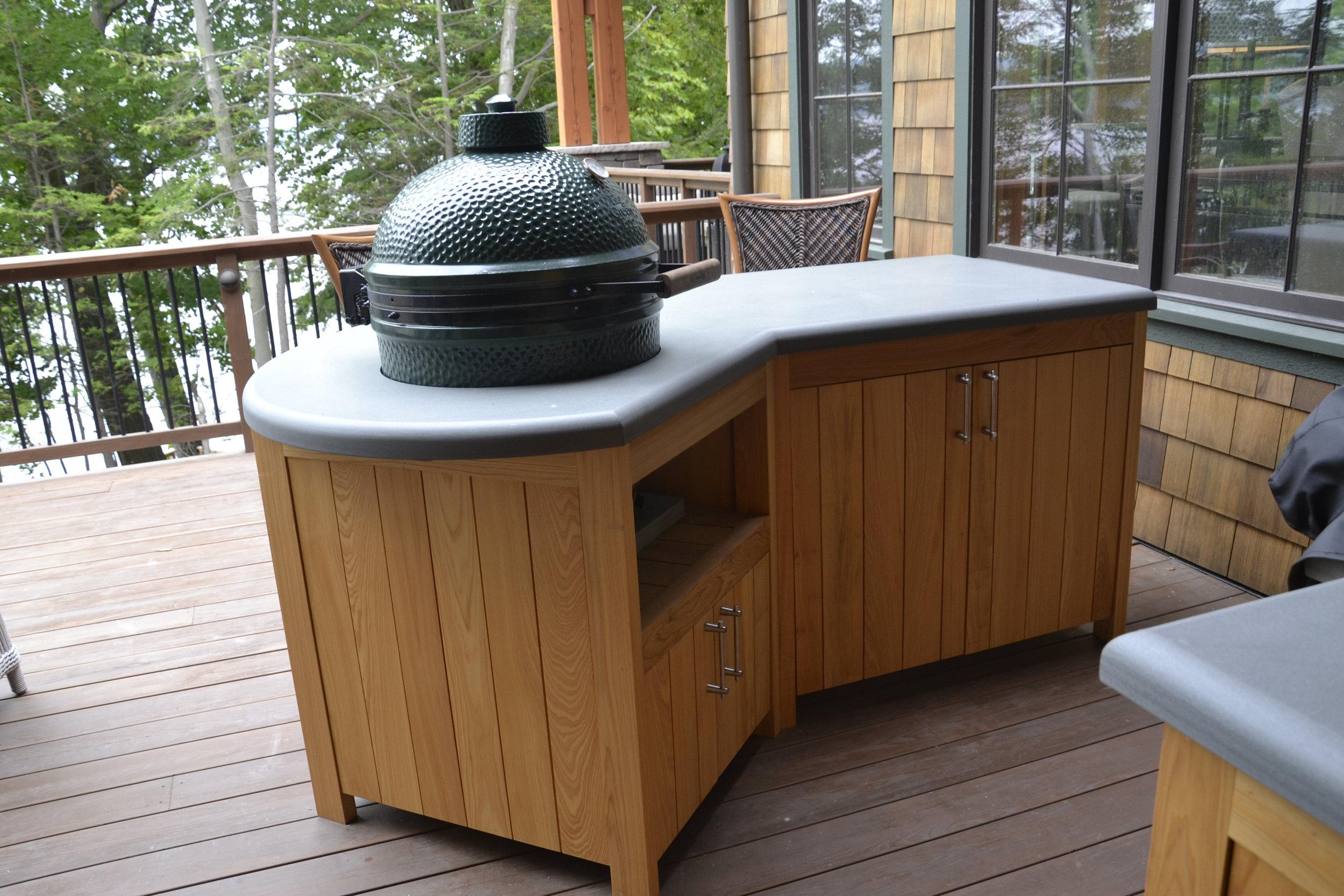 Teak outdoor kitchenette